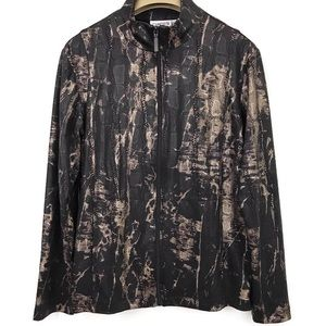 Chico's Travelers Top Snakeskin Pattern Zippered